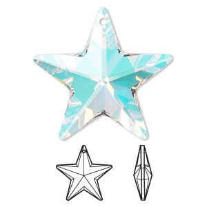 drop, swarovski crystals, crystal ab, 28x27mm faceted star pendant (6714). sold per pkg of 24.