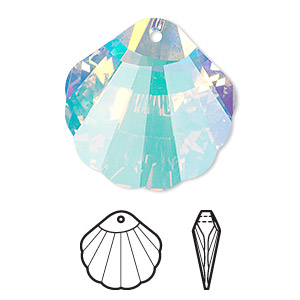 drop, swarovski crystals, crystal ab, 28x28mm faceted shell pendant (6723). sold per pkg of 18.