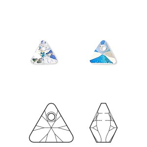 drop, swarovski crystals, crystal ab, 8mm xilion triangle pendant (6628). sold per pkg of 288 (2 gross).