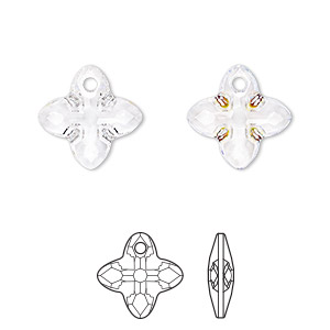 drop, swarovski crystals, crystal ab z, 14mm faceted cross tribe pendant (6868). sold per pkg of 36.