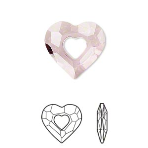 drop, swarovski crystals, crystal antique pink, 18x17mm faceted miss u heart pendant (6262). sold per pkg of 48.