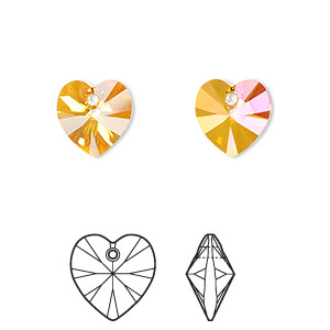 drop, swarovski crystals, crystal astral pink, 10x10mm xilion heart pendant (6228). sold per pkg of 288 (2 gross).