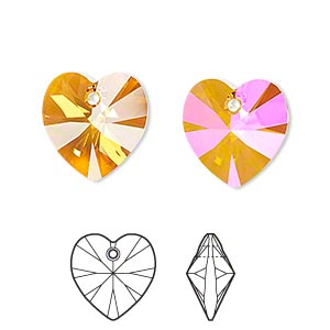 drop, swarovski crystals, crystal astral pink, 14x14mm xilion heart pendant (6228). sold per pkg of 144 (1 gross).