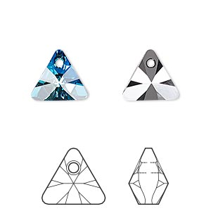 drop, swarovski crystals, crystal bermuda blue p, 12mm xilion triangle pendant (6628). sold per pkg of 144 (1 gross).