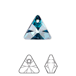 drop, swarovski crystals, crystal bermuda blue p, 16mm xilion triangle pendant (6628). sold per pkg of 72.
