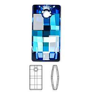 drop, swarovski crystals, crystal bermuda blue p, 30mm faceted urban pendant (6696). sold per pkg of 10.