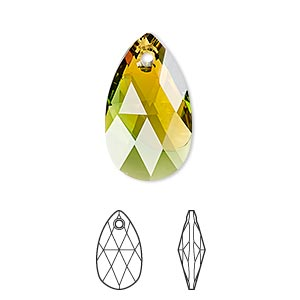 drop, swarovski crystals, crystal blend colors, crystal passions, fern green and topaz, 22x13mm faceted pear pendant (6106). sold per pkg of 24.