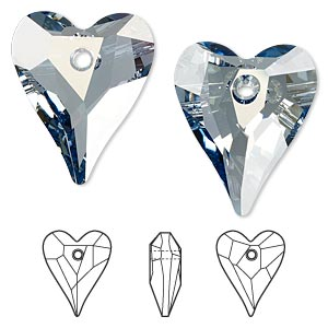 drop, swarovski crystals, crystal blue shade, 27x22mm faceted wild heart pendant (6240). sold per pkg of 24.