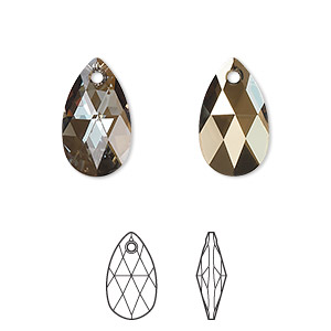 drop, swarovski crystals, crystal bronze shade, 16x9mm faceted pear pendant (6106). sold per pkg of 144 (1 gross).