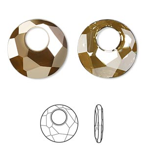 drop, swarovski crystals, crystal bronze shade, 28mm faceted victory pendant (6041). sold per pkg of 12.