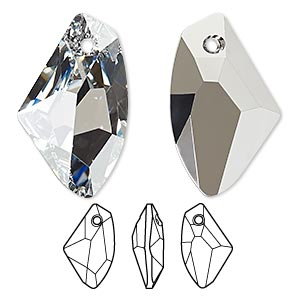 drop, swarovski crystals, crystal cal v p, 27x16mm faceted galactic vertical pendant (6656). sold per pkg of 30.
