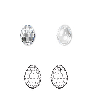 drop, swarovski crystals, crystal clear, 10x7mm faceted plump teardrop pendant (6002). sold per pkg of 144 (1 gross).