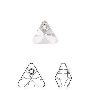 drop, swarovski crystals, crystal clear, 12mm xilion triangle pendant (6628). sold per pkg of 144 (1 gross).
