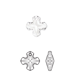 drop, swarovski crystals, crystal clear, 14mm faceted greek cross pendant (6867). sold per pkg of 72.