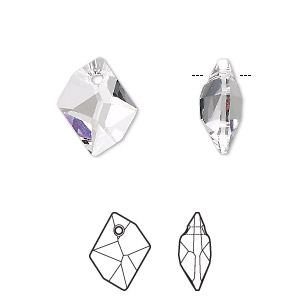 drop, swarovski crystals, crystal clear, 14x11mm faceted cosmic pendant (6680). sold per pkg of 144 (1 gross).