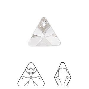 drop, swarovski crystals, crystal clear, 16mm xilion triangle pendant (6628). sold per pkg of 72.