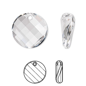 drop, swarovski crystals, crystal clear, 18mm faceted twist pendant (6621). sold per pkg of 72.