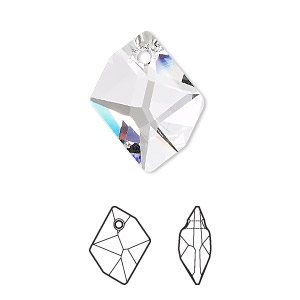 drop, swarovski crystals, crystal clear, 20x16mm faceted cosmic pendant (6680). sold per pkg of 72.