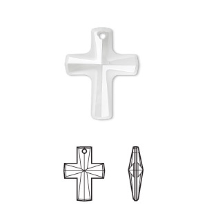 drop, swarovski crystals, crystal clear, 20x16mm faceted cross pendant (6860). sold per pkg of 72.