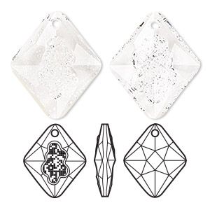 drop, swarovski crystals, crystal clear, 26mm faceted grow rhombus pendant (6926). sold per pkg of 15.