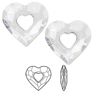 drop, swarovski crystals, crystal clear, 27x26mm faceted miss u heart pendant (6262). sold per pkg of 16.