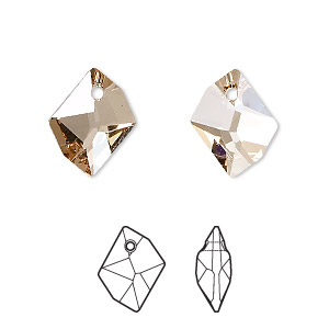 drop, swarovski crystals, crystal golden shadow, 14x11mm faceted cosmic pendant (6680). sold per pkg of 144 (1 gross).
