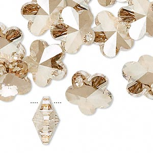 drop, swarovski crystals, crystal golden shadow, 14x14mm faceted flower pendant (6744). sold per pkg of 144 (1 gross).