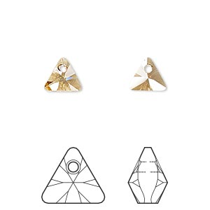 drop, swarovski crystals, crystal golden shadow, 8mm xilion triangle pendant (6628). sold per pkg of 288 (2 gross).