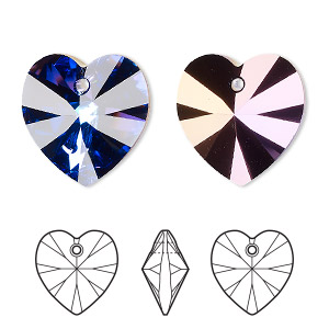 drop, swarovski crystals, crystal heliotrope, 18x18mm xilion heart pendant (6228). sold per pkg of 72.