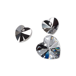 drop, swarovski crystals, crystal light chrome, 10x10.3mm and 14.4x14mm xilion heart pendant (6228). sold per pkg of 3.