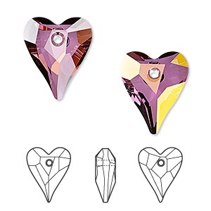 drop, swarovski crystals, crystal lilac shadow, 17x14mm faceted wild heart pendant (6240). sold per pkg of 72.
