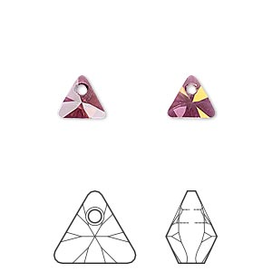 drop, swarovski crystals, crystal lilac shadow, 8mm xilion triangle pendant (6628). sold per pkg of 288 (2 gross).