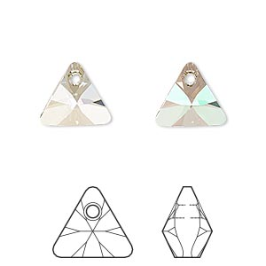 drop, swarovski crystals, crystal luminous green, 12mm xilion triangle pendant (6628). sold per pkg of 144 (1 gross).