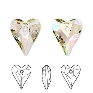 drop, swarovski crystals, crystal luminous green, 17x14mm faceted wild heart pendant (6240). sold per pkg of 72.