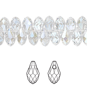 drop, swarovski crystals, crystal moonlight, 9x5mm faceted briolette pendant (6007). sold per pkg of 288 (2 gross).