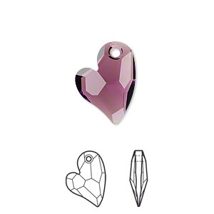 drop, swarovski crystals, crystal passions, amethyst, 17x13mm faceted devoted 2 u heart pendant (6261). sold per pkg of 6.