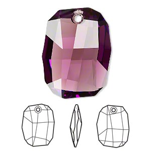 drop, swarovski crystals, crystal passions, amethyst, 28x21mm faceted graphic pendant (6685). sold individually.