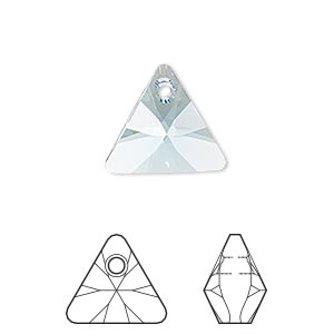 drop, swarovski crystals, crystal passions, aquamarine, 16mm xilion triangle pendant (6628). sold individually.