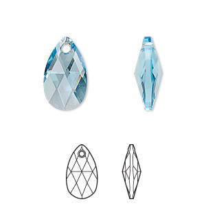drop, swarovski crystals, crystal passions, aquamarine, 16x9mm faceted pear pendant (6106). sold individually.