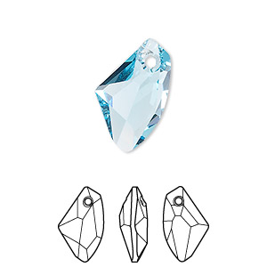 drop, swarovski crystals, crystal passions, aquamarine, 19x11mm faceted galactic vertical pendant (6656). sold per pkg of 24.