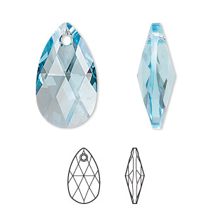 drop, swarovski crystals, crystal passions, aquamarine, 22x13mm faceted pear pendant (6106). sold individually.
