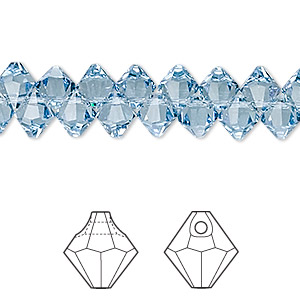 drop, swarovski crystals, crystal passions, aquamarine, 6mm faceted bicone pendant (6301). sold per pkg of 12.