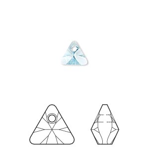drop, swarovski crystals, crystal passions, aquamarine, 8mm xilion triangle pendant (6628). sold per pkg of 24.