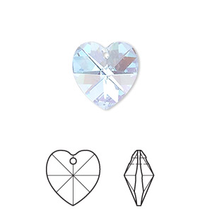 drop, swarovski crystals, crystal passions, aquamarine ab, 14x14mm xilion heart pendant (6228). sold individually.