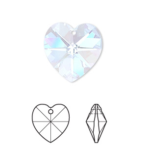 drop, swarovski crystals, crystal passions, aquamarine ab, 18x18mm xilion heart pendant (6228). sold per pkg of 24.