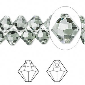 drop, swarovski crystals, crystal passions, black diamond, 8mm faceted bicone pendant (6301). sold per pkg of 144 (1 gross).
