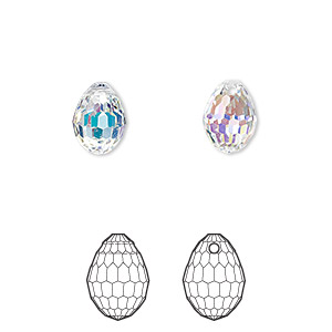 drop, swarovski crystals, crystal passions, crystal ab, 10x7mm faceted plump teardrop pendant (6002). sold per pkg of 24.