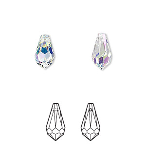 drop, swarovski crystals, crystal passions, crystal ab, 11x5.5mm faceted teardrop pendant (6000). sold per pkg of 2.