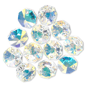 drop, swarovski crystals, crystal passions, crystal ab, 12x12mm faceted octagon pendant (6401). sold per pkg of 12.