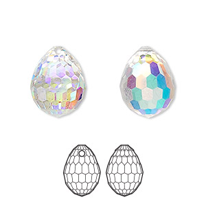 drop, swarovski crystals, crystal passions, crystal ab, 15x11.5mm faceted plump teardrop pendant (6002). sold per pkg of 24.